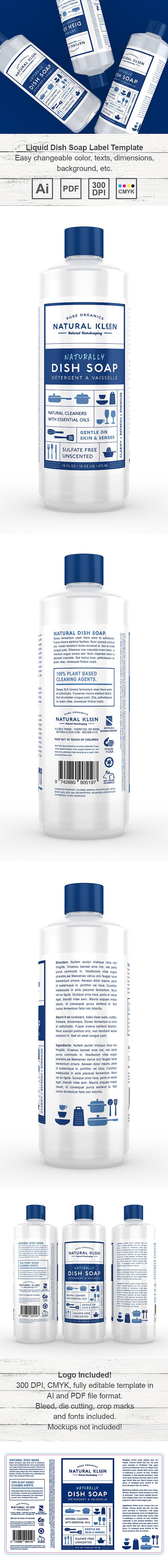 Liquid Dish Wash Label Template