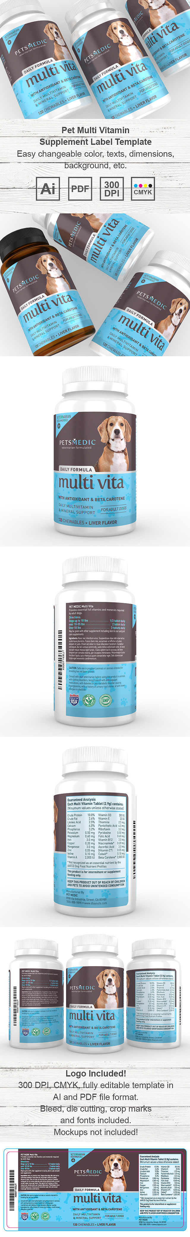 Pet Multi Vitamin Supplement Label Template