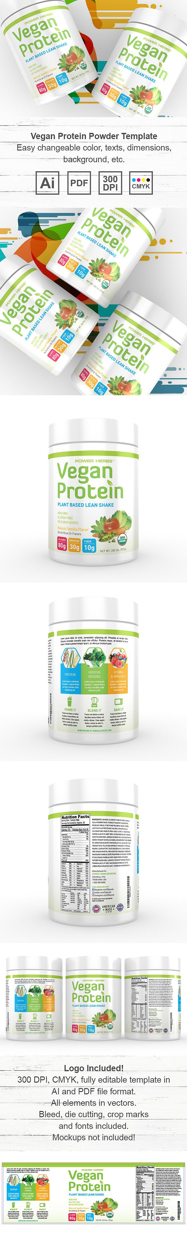 Vegan Plant Protein Powder Supplement Label Template