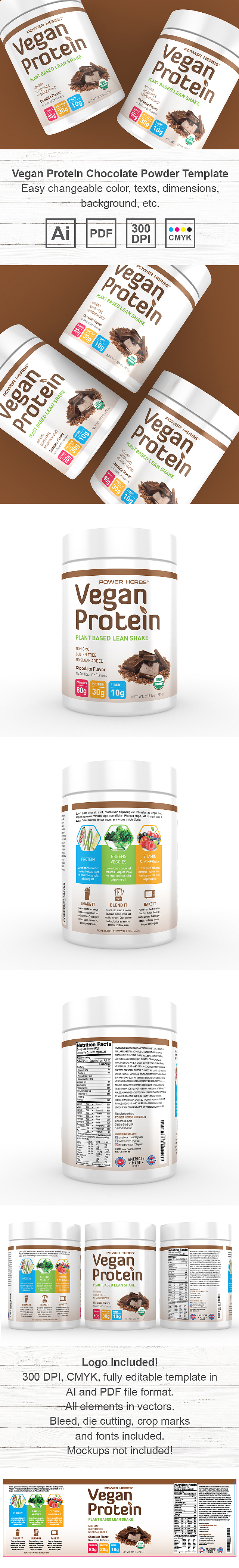 Vegan Protein Chocolate Powder Supplement Label Template