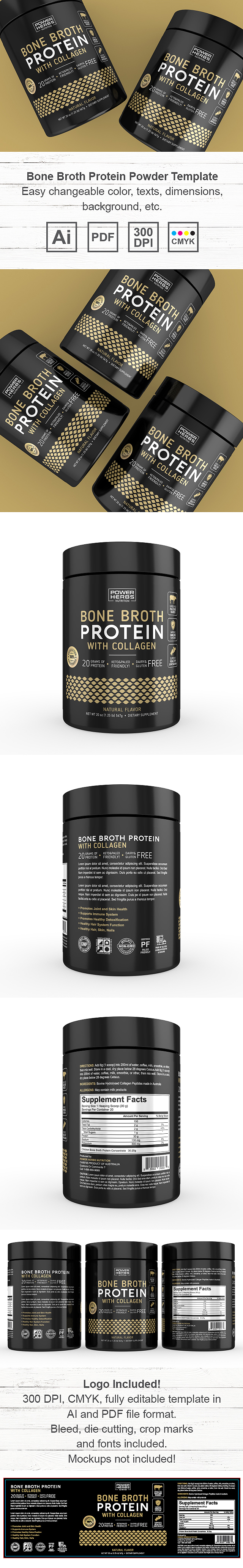 Bone Broth Protein Powder Label Template
