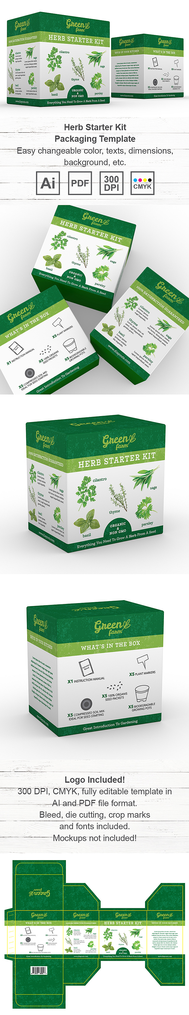 Organic Herb Growing Kit Packaging Template