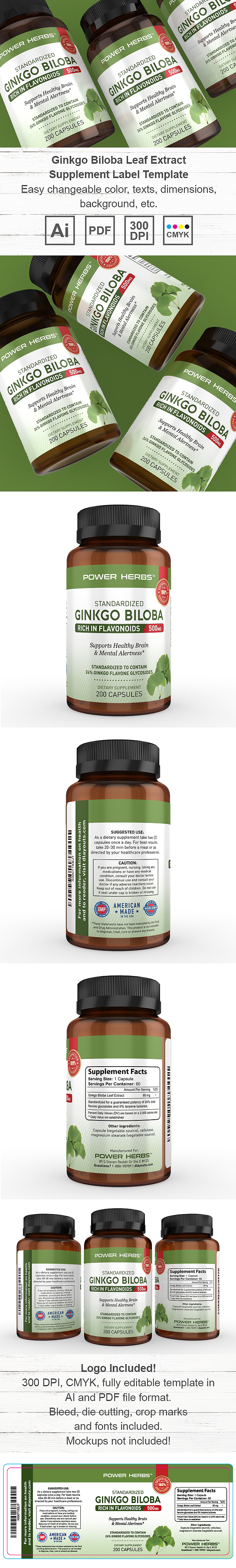 Ginkgo Biloba Leaf Extract Supplement Label Template