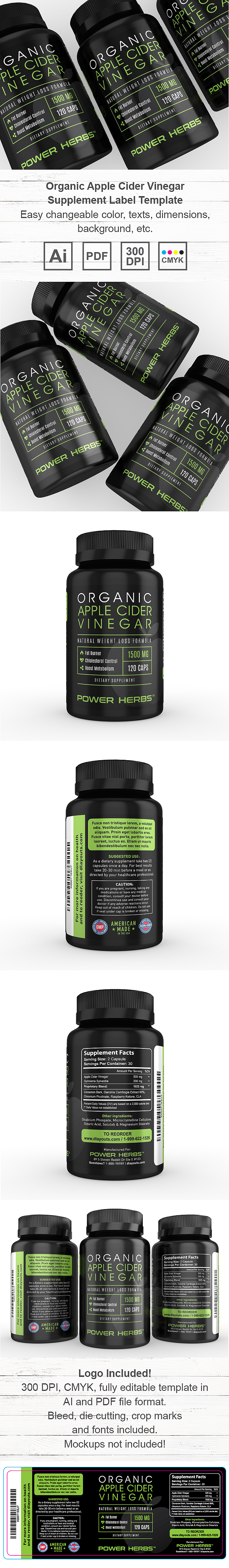 Organic Apple Cider Vinegar Supplement Label Template