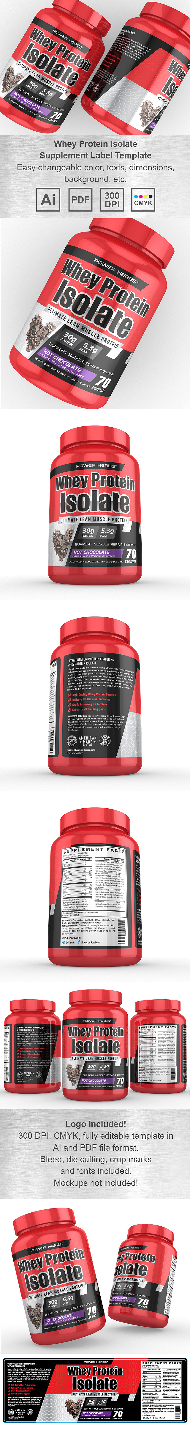 Whey Protein Isolate Chocolate Supplement Label Template