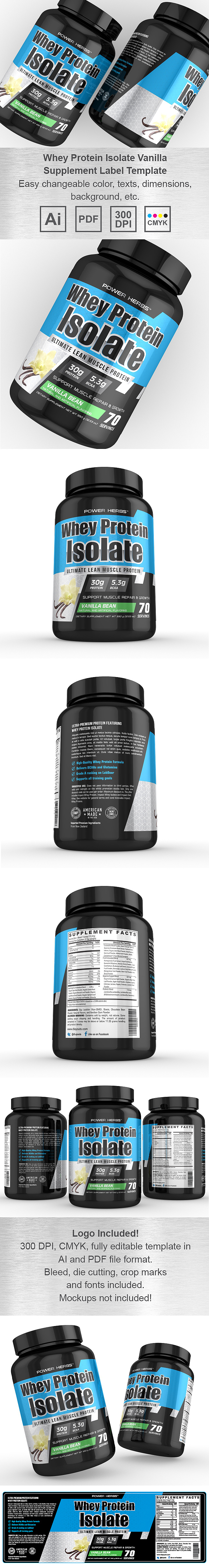 Whey Protein Isolate Vanilla Supplement Label Template