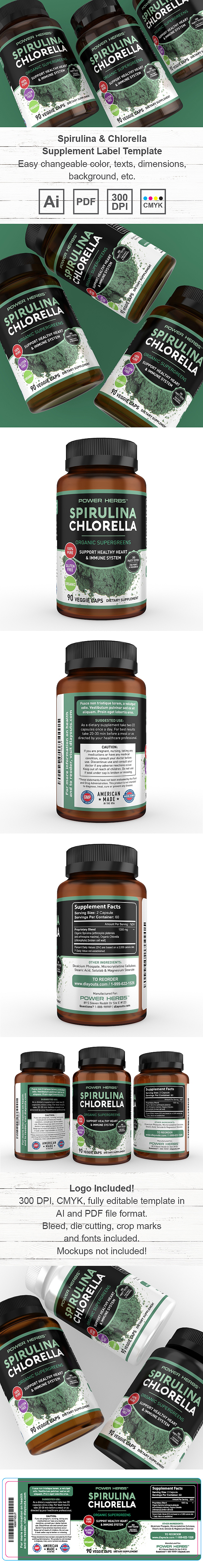 Spirulina and Chlorella Supplement Label Template
