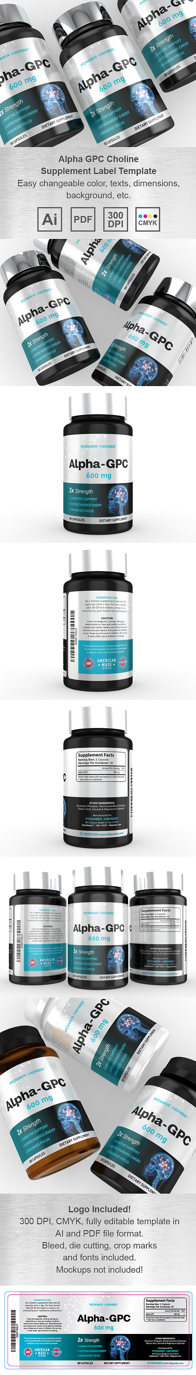 Alpha GPC Choline Supplement Label Template