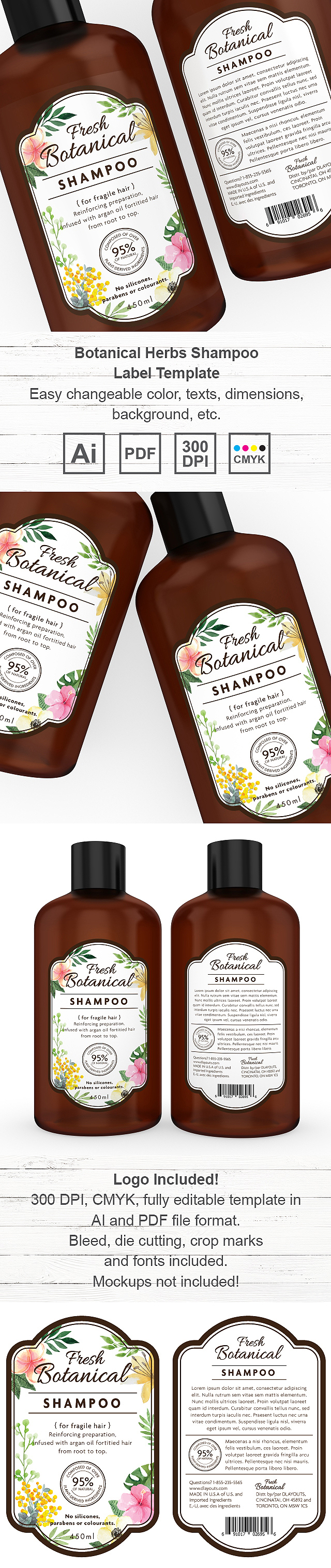 Botanical Herbs Shampoo Label Template