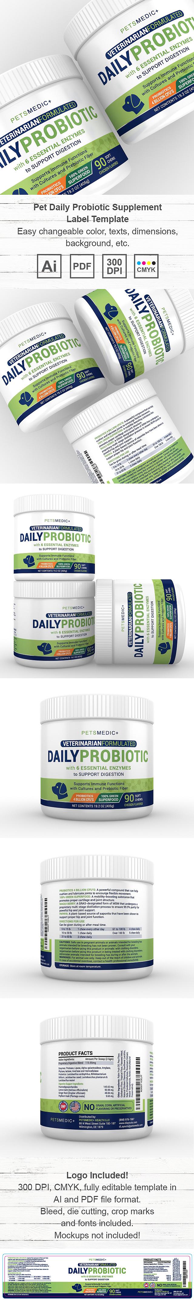 Pet Daily Probiotic Supplement Label Template