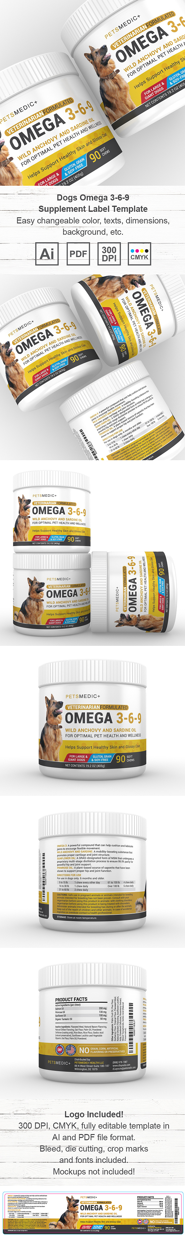 Pet Omega 3-6-9 Supplement Label Template