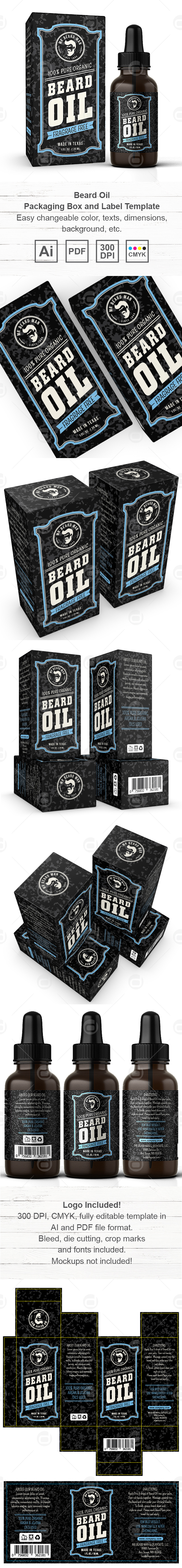 Beard Oil Packaging & Label Template