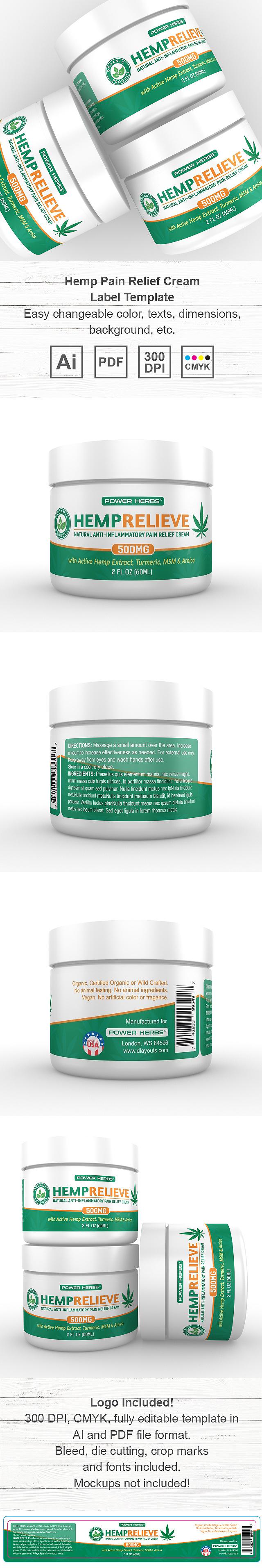 Hemp Pain Relief Cream Label Template