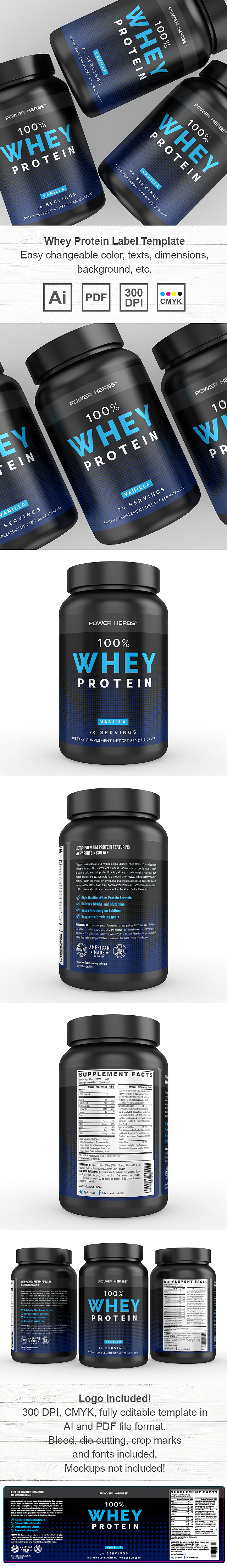 Whey Protein Vanilla Supplement Label Template