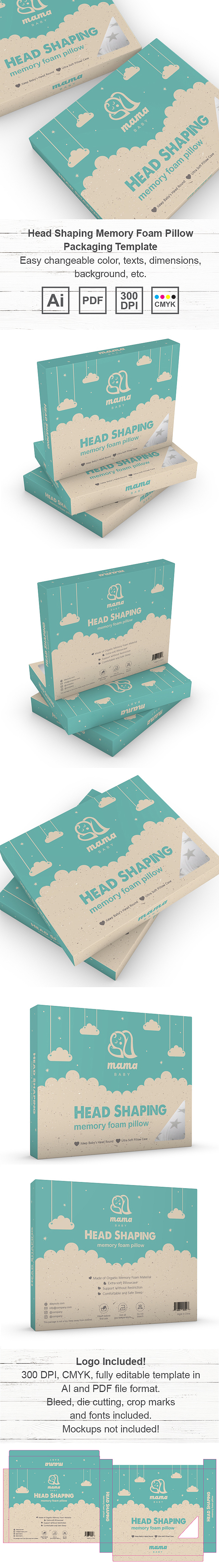 Head Shaping Memory Foam Pillow Packaging Template