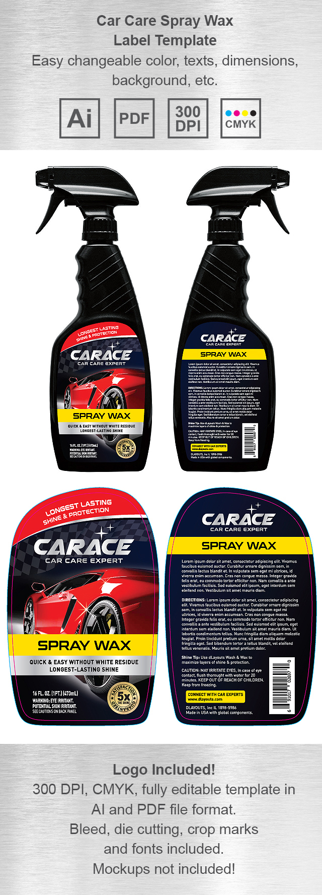 Car Care Spray Wax Label Template