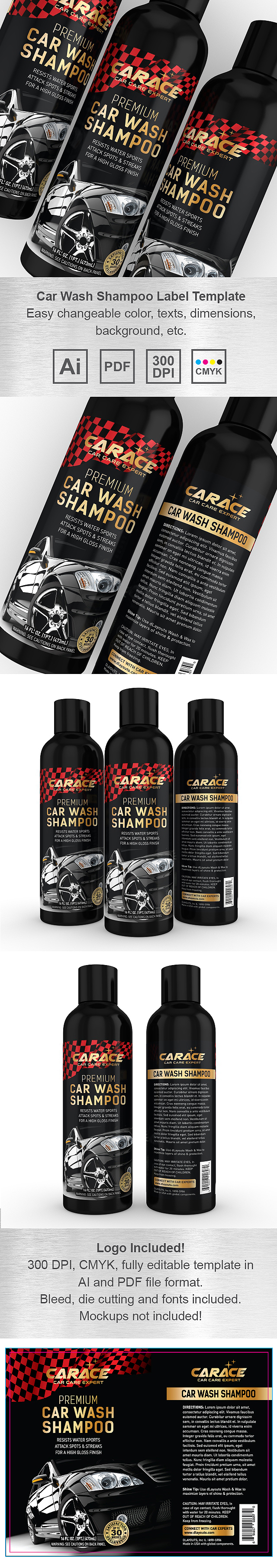 Car Wash Shampoo Label Template