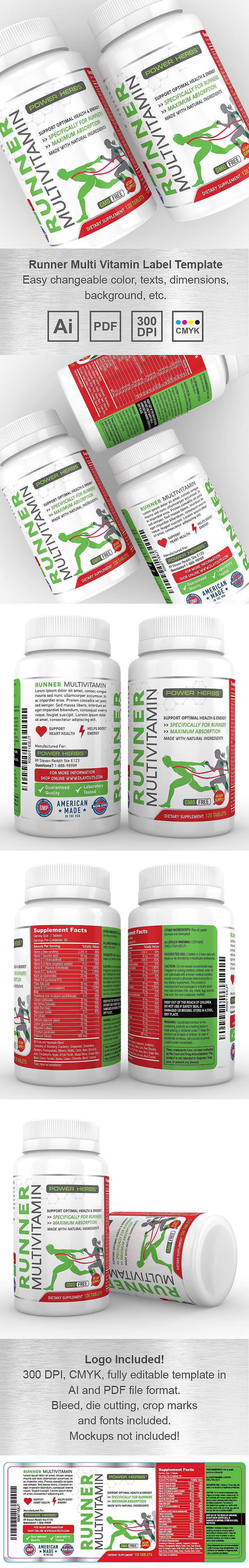 Runner Multi Vitamin Supplement Label Template