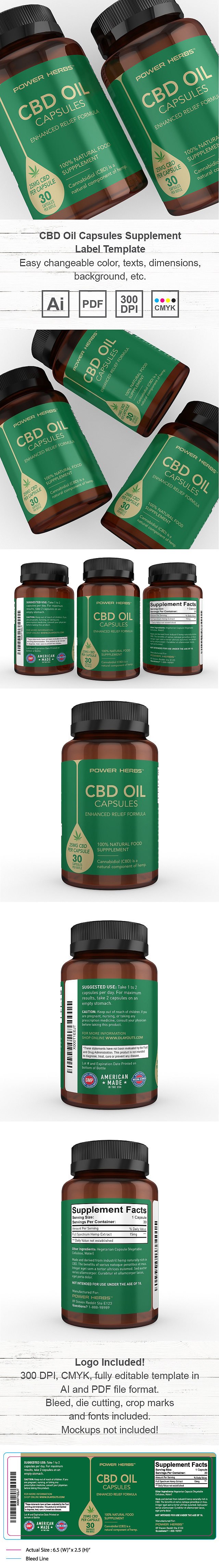 CBD Oil Capsules Supplement Label Template