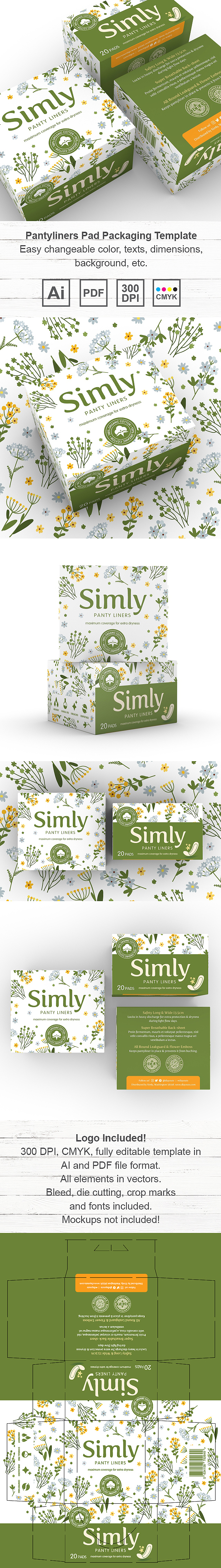 Pantyliners Pad Packaging Template