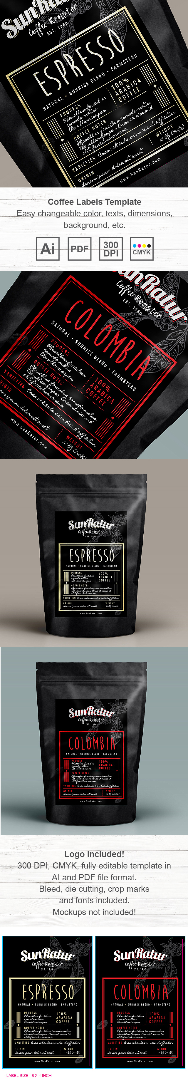 Coffee Labels Template