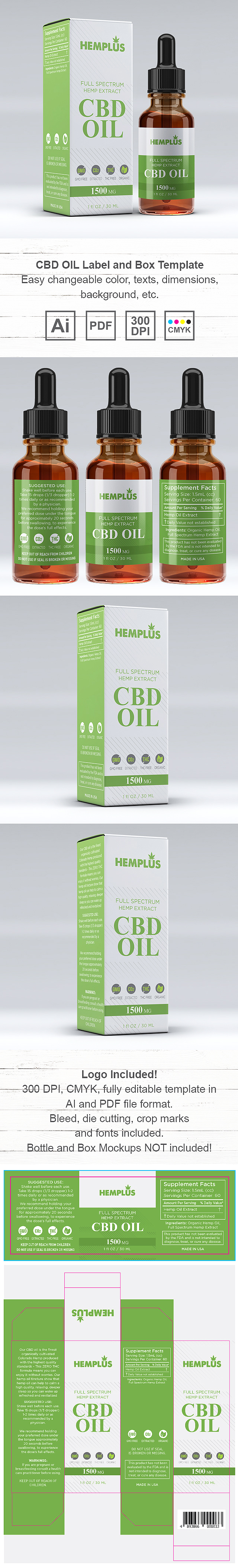 CBD OIL Supplement Label and Box Template