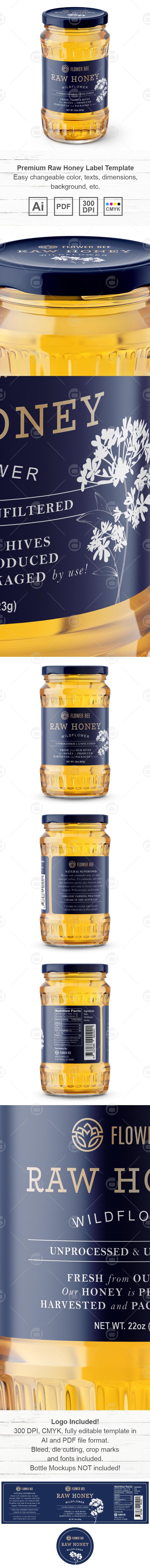 Premium Raw Honey Label Template