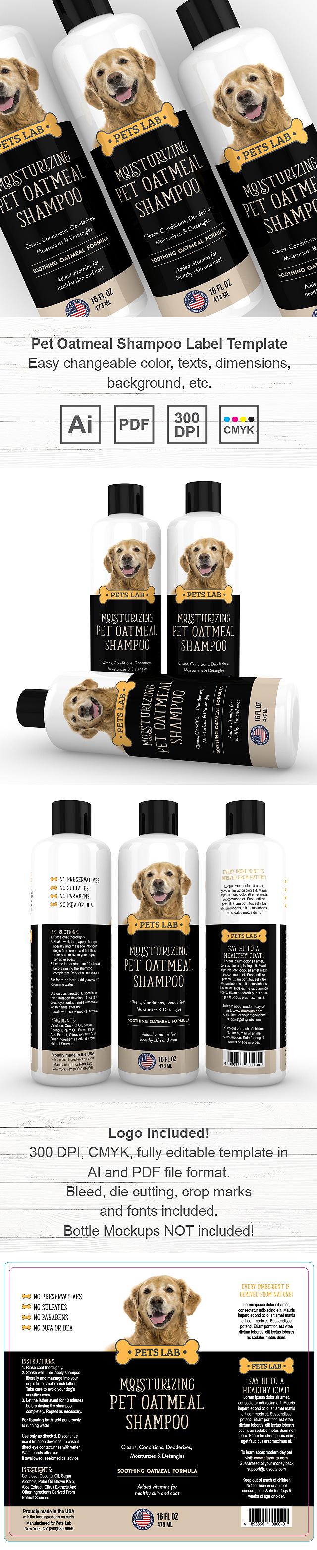 Pet Oatmeal Shampoo Label Template
