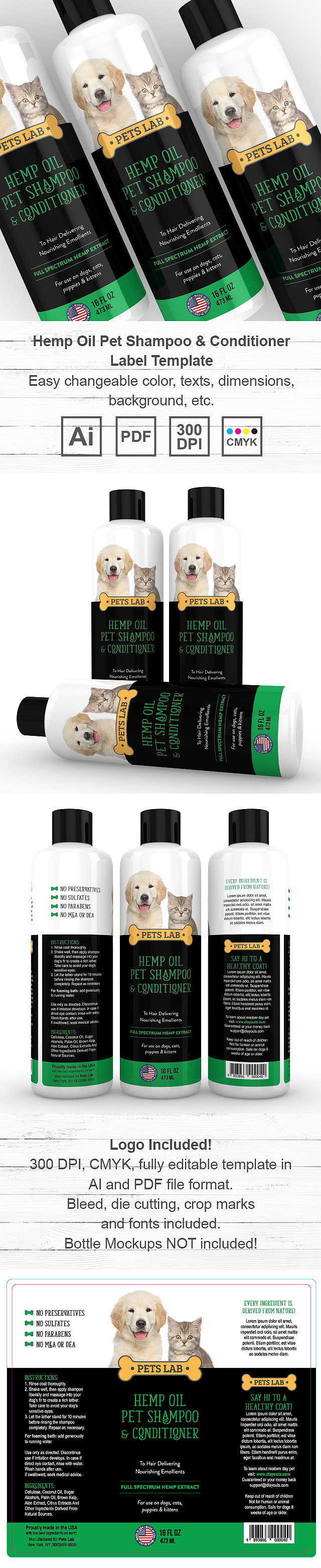 Hemp Oil Pet Shampoo & Conditioner Label Template