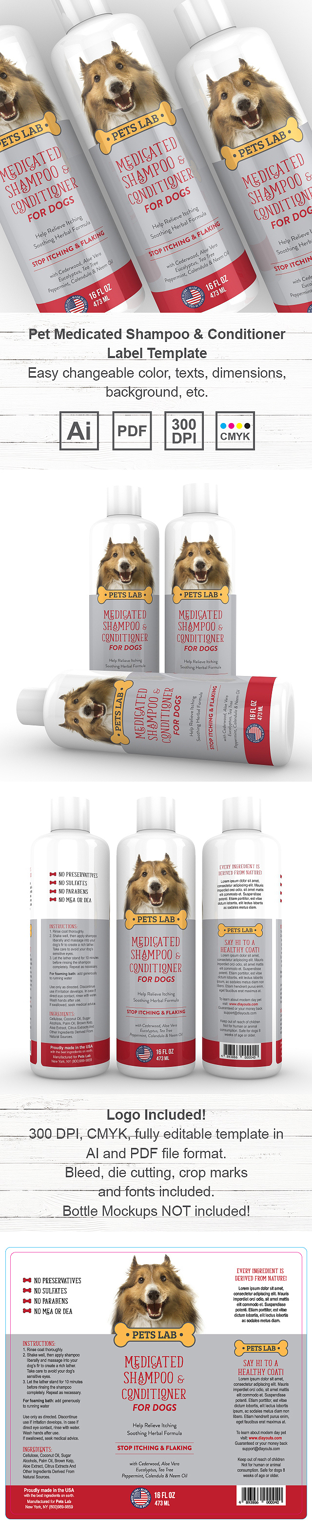 Pet Medicated Shampoo & Conditioner Label Template