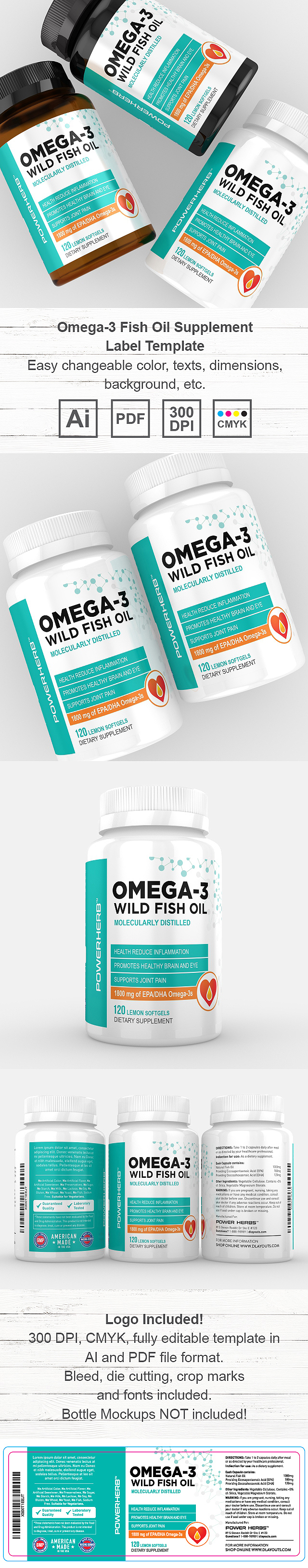 Omega 3 Fish Oil Supplement Label Template