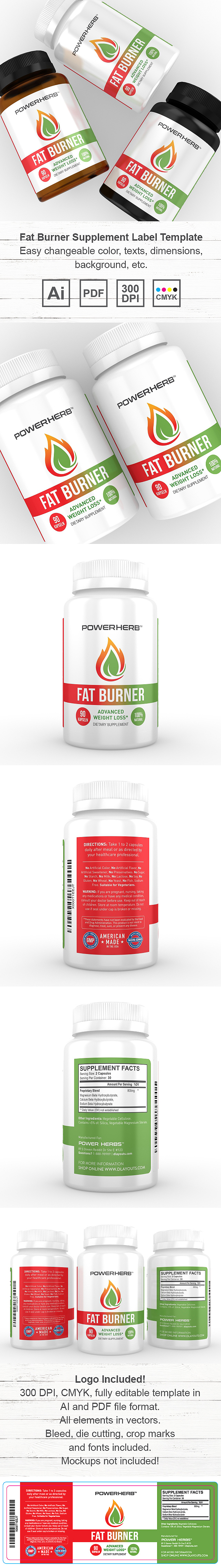 Fat Burner Supplement Label Template