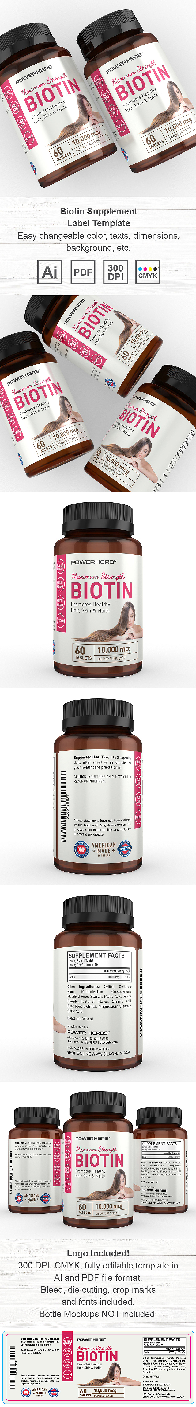 Biotin Supplement Label Template