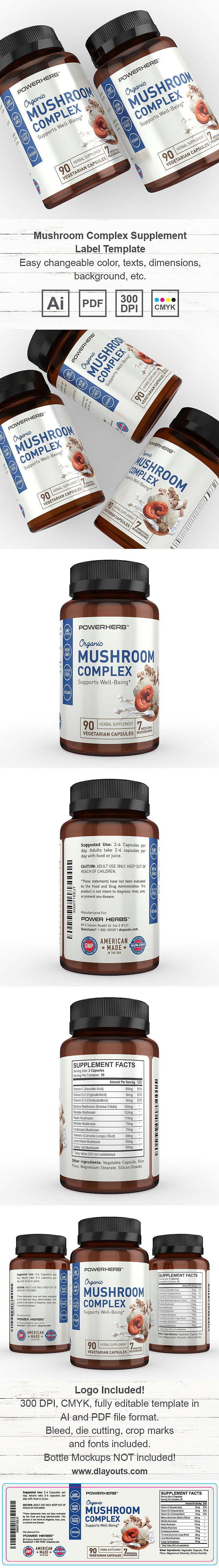 Mushroom Complex Supplement Label Template