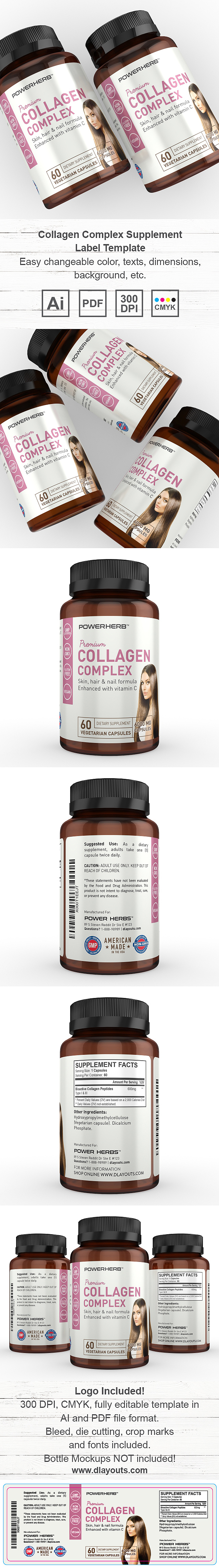 Collagen Complex Supplement Label Template