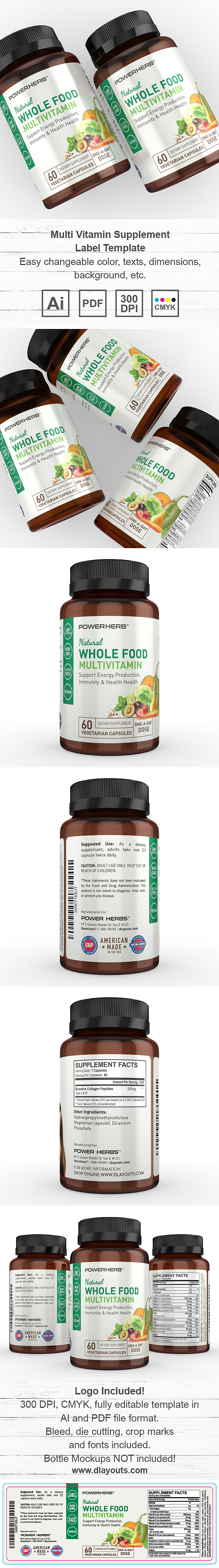 Multi Vitamin Supplement Label Template