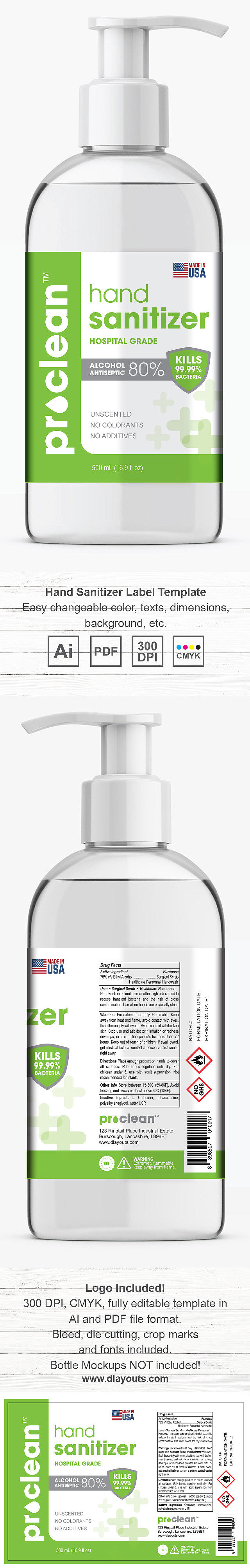 Hand Sanitizer Gel Label Template