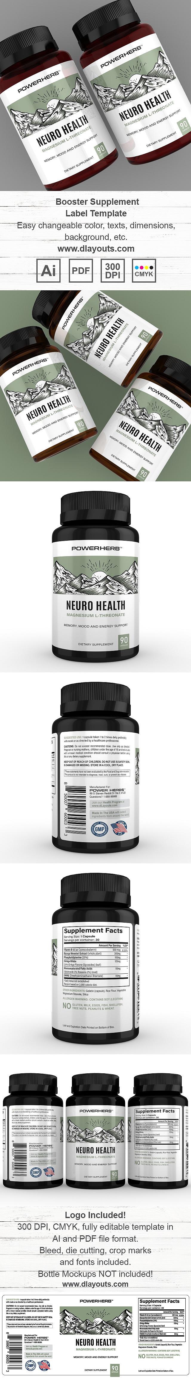 Brain Booster Supplement Label Template Design