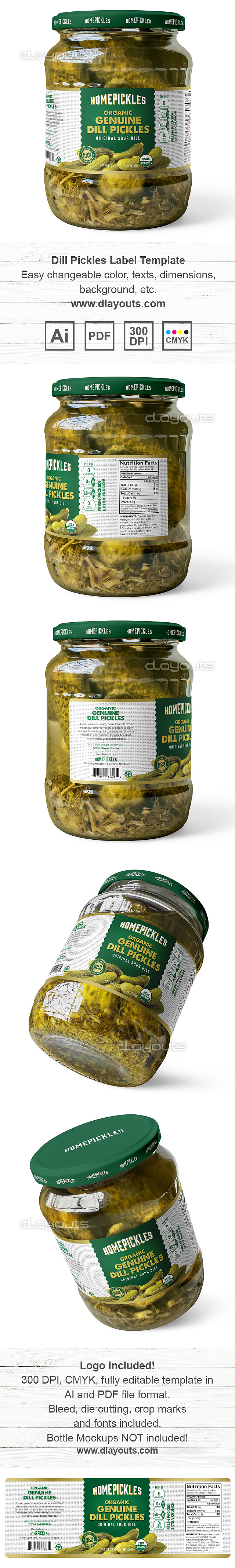 Organic Dill Pickles Label Template