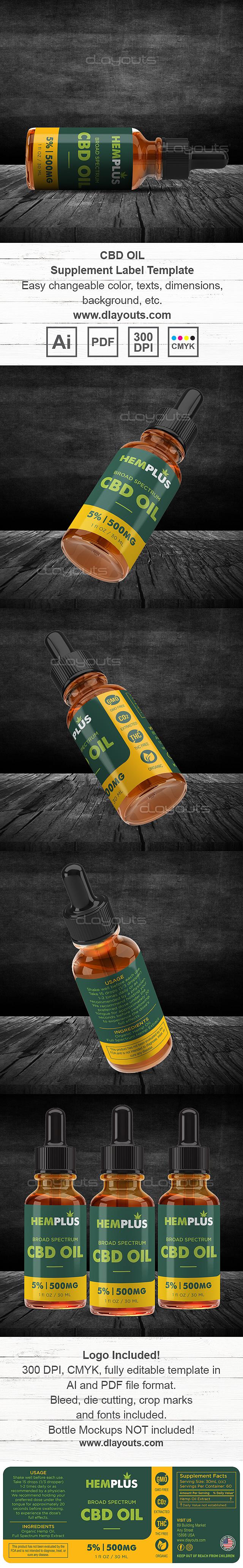 CBD Oil Supplement Label Template