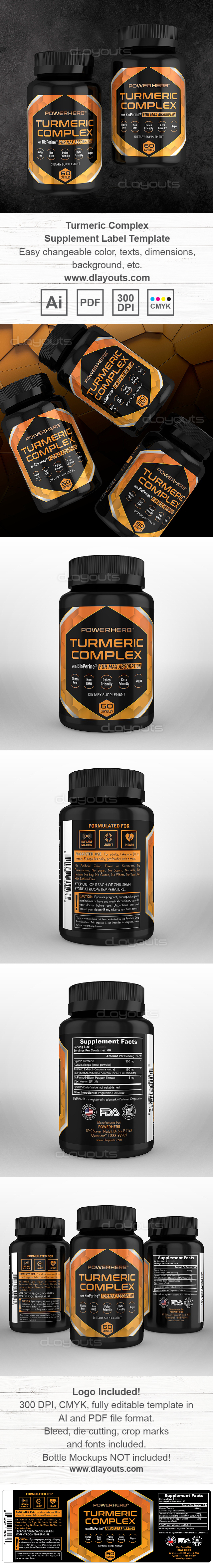 Turmeric Complex with BioPerine Supplement Label Template