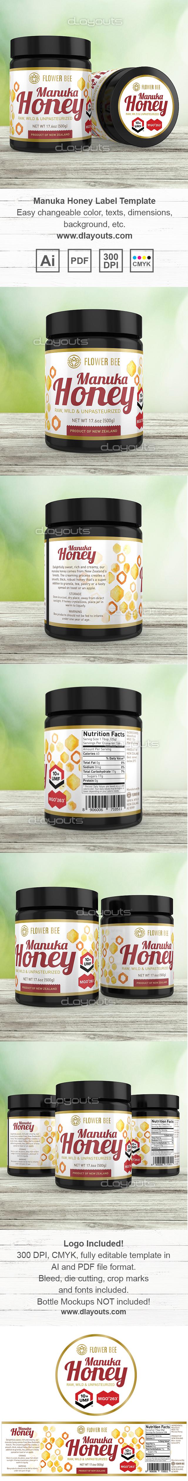 Manuka Honey Label Template