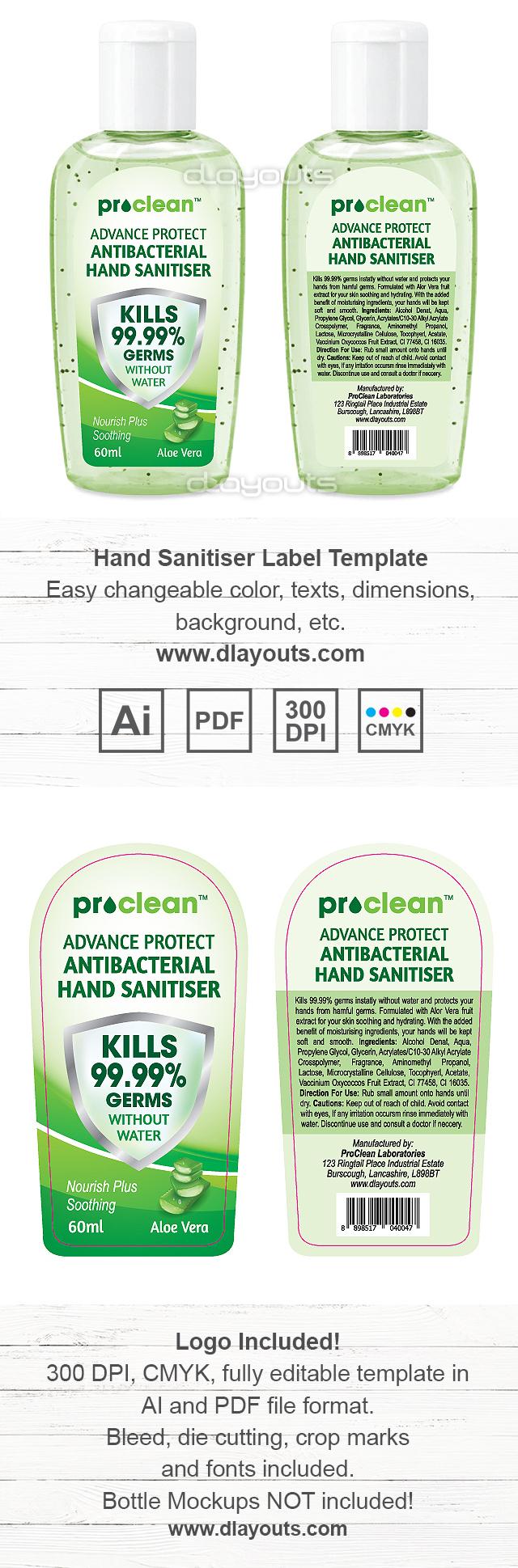 Hand Sanitizer Label Template
