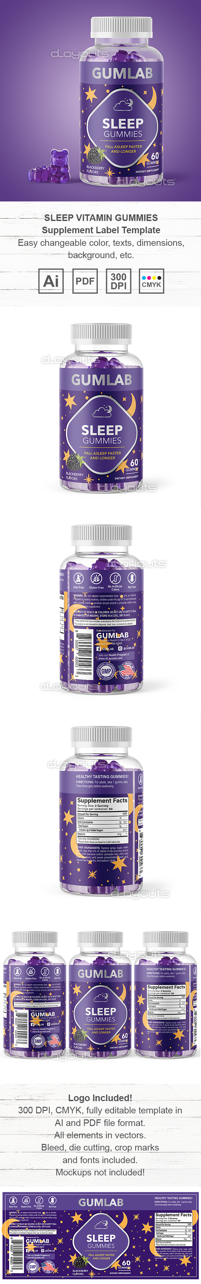Sleep Vitamin Gummies Supplement Label Template