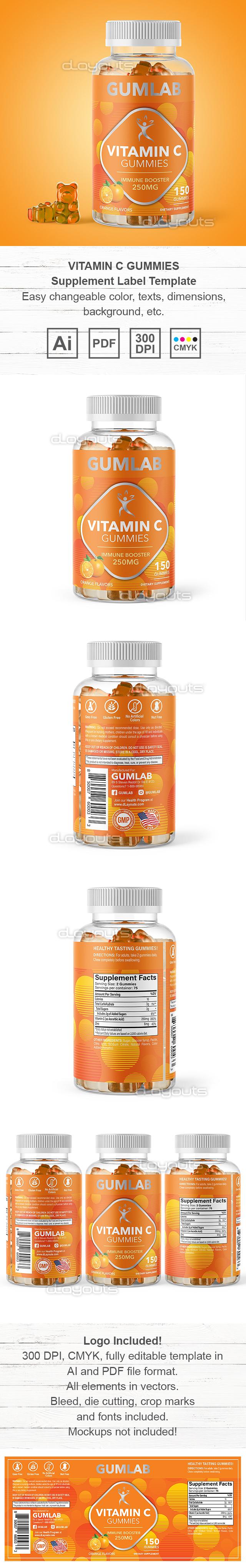 Vitamin C Gummies Supplement Label Template