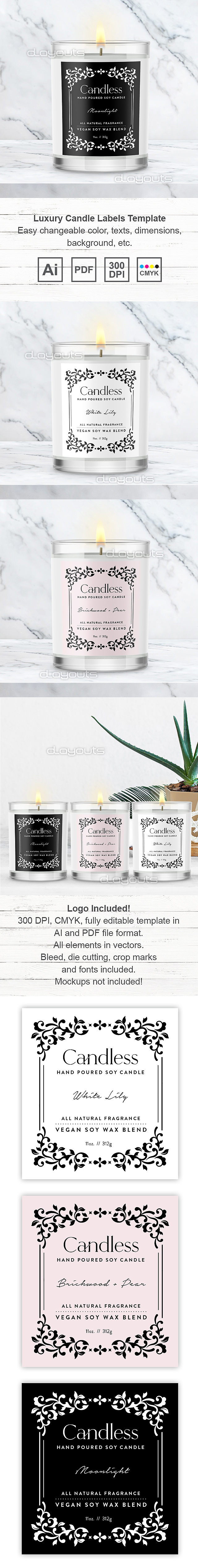Luxury Candle Labels Template