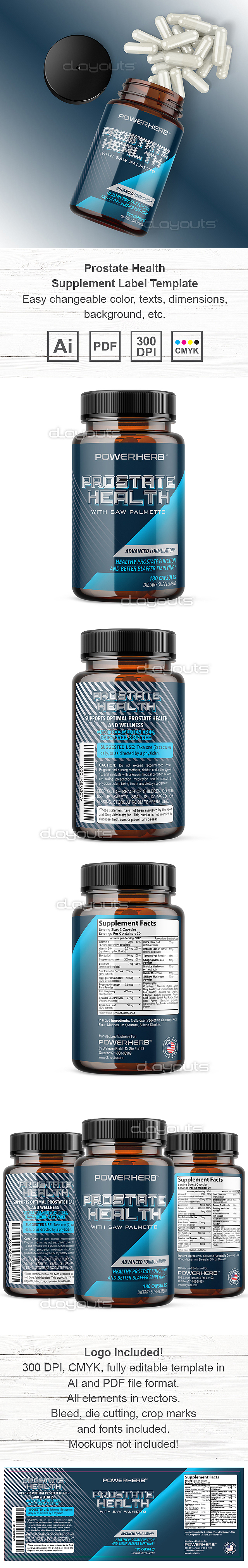 Prostate Health Supplement Label Template