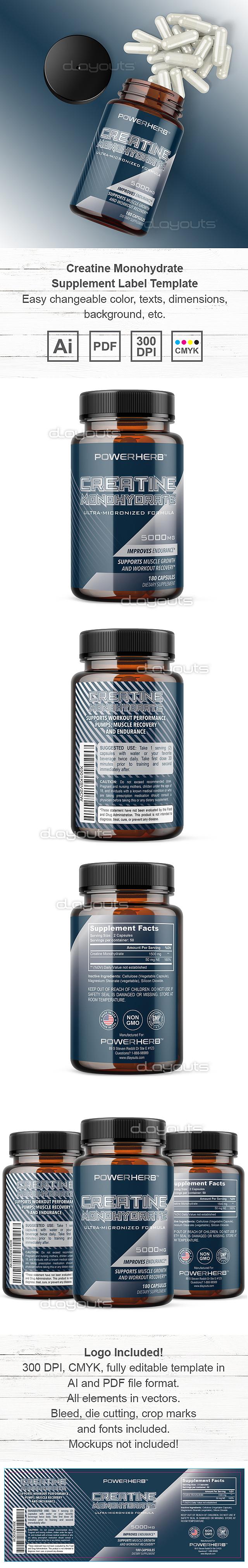 Creatine Monohydrate Supplement Label Template