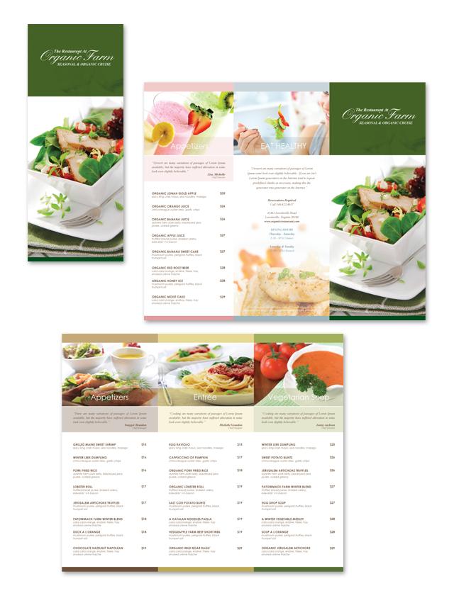 Organic Restaurant Tri Fold Menu Template