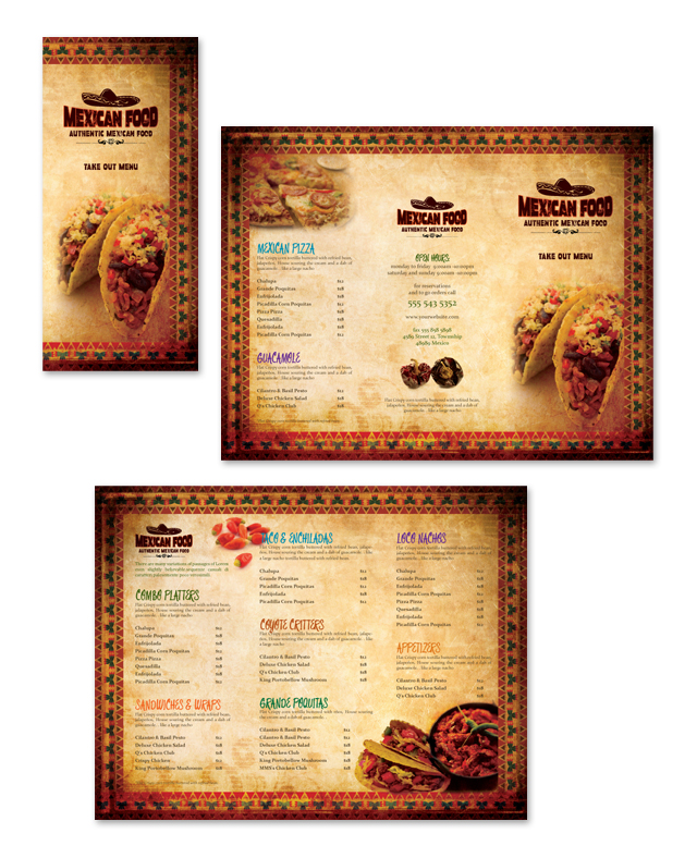 Mexican Restaurant Take Out Menu Template